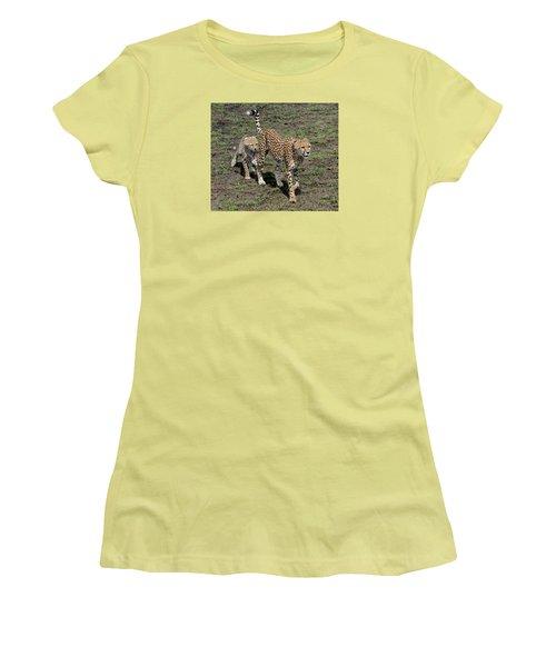 Women's T-Shirt (Junior Cut) featuring the photograph Cute Cheetah Wait For Me Mommy by Tom Wurl