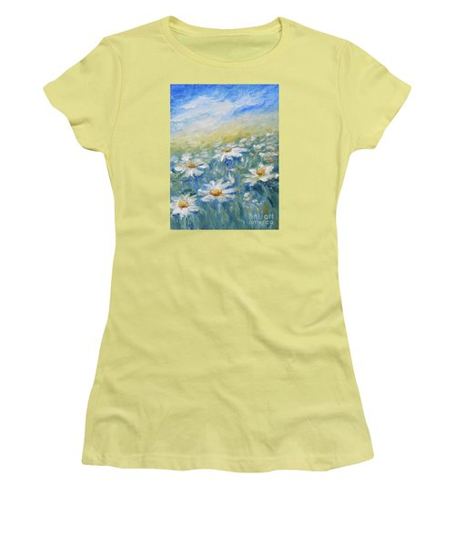 Women's T-Shirt (Junior Cut) featuring the painting Daisies by Jane  See