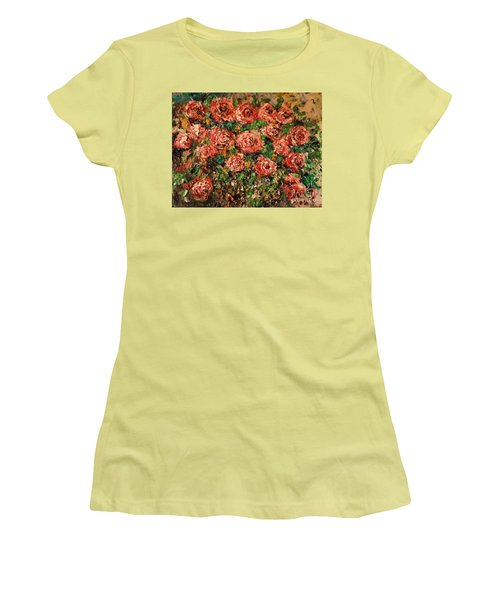 Women's T-Shirt (Athletic Fit) featuring the painting Dancing Red Roses by Laurie L