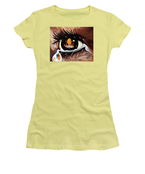 Women's T-Shirt (Junior Cut) featuring the painting Dark Sorrow  by Jackie Carpenter