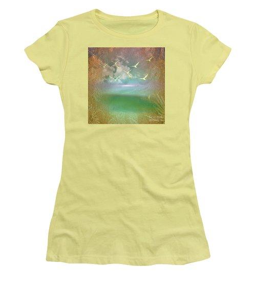 Day At The Beach Abstract Women's T-Shirt (Junior Cut) by Judy Palkimas