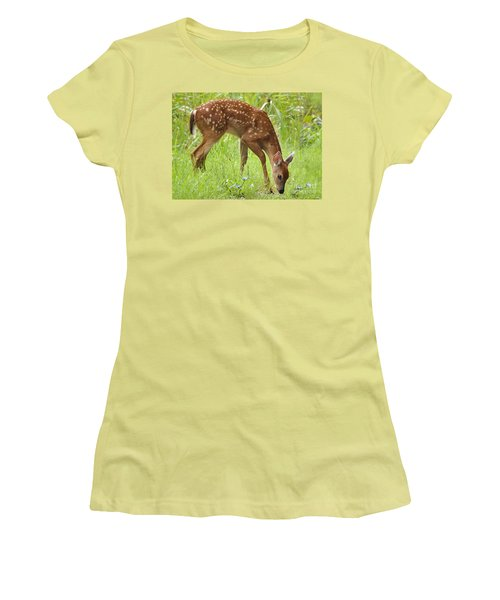 Women's T-Shirt (Junior Cut) featuring the photograph Little Fawn Blue Wildflowers by Nava Thompson