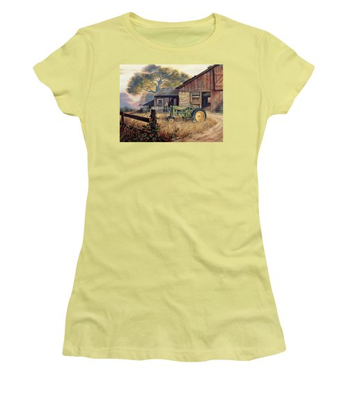 Women's T-Shirt (Junior Cut) featuring the painting Deere Country by Michael Humphries