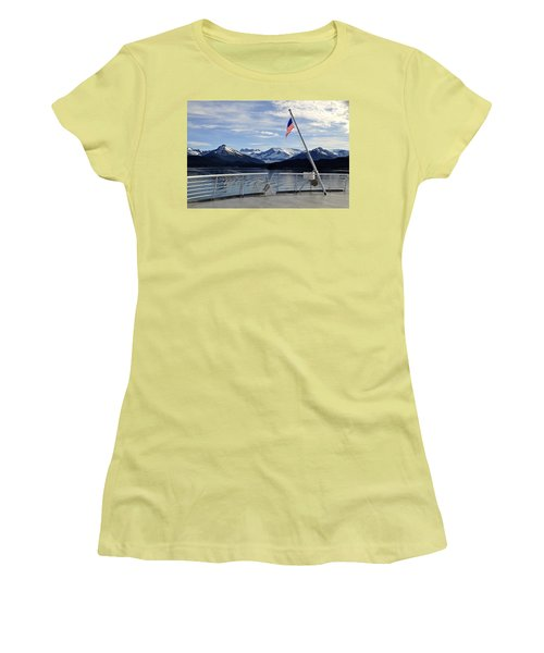 Women's T-Shirt (Junior Cut) featuring the photograph Departing Auke Bay by Cathy Mahnke