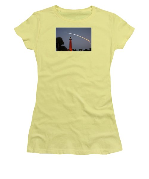 Women's T-Shirt (Junior Cut) featuring the photograph Discovery Booster Separation Over Ponce Inlet Lighthouse by Paul Rebmann