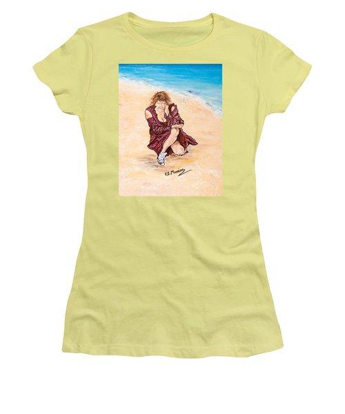 Women's T-Shirt (Junior Cut) featuring the painting Disperazione by Loredana Messina