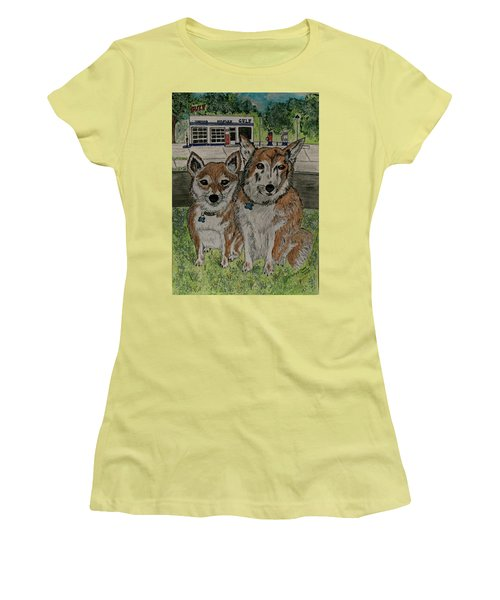 Women's T-Shirt (Junior Cut) featuring the painting Dogs In Front Of The Gulf Station by Kathy Marrs Chandler