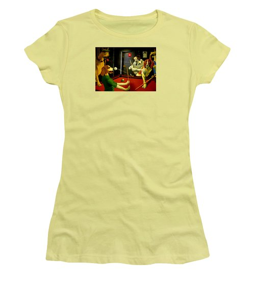 Dogs Playing Pool Wall Art Unknown Painter Women's T-Shirt (Junior Cut) by Kathy Barney