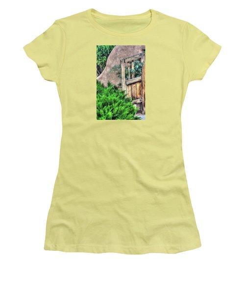 Women's T-Shirt (Junior Cut) featuring the photograph Door, Santuario De Chimayo by Lanita Williams