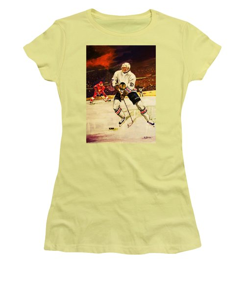 Women's T-Shirt (Junior Cut) featuring the painting Drama On Ice by Al Brown