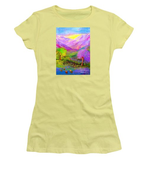 Women's T-Shirt (Junior Cut) featuring the painting Dream Lake by Jane Small