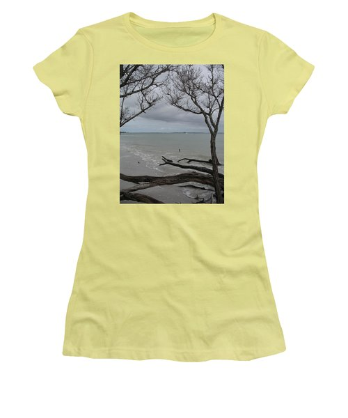 Women's T-Shirt (Junior Cut) featuring the photograph Driftwood On The Beach by Christiane Schulze Art And Photography