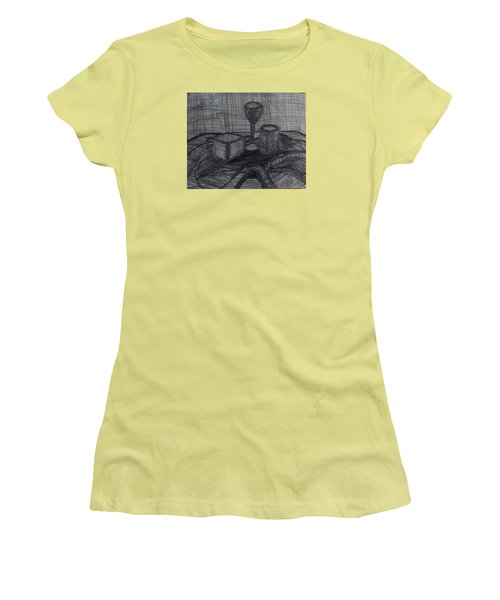 Women's T-Shirt (Junior Cut) featuring the drawing Drinks by Erika Chamberlin