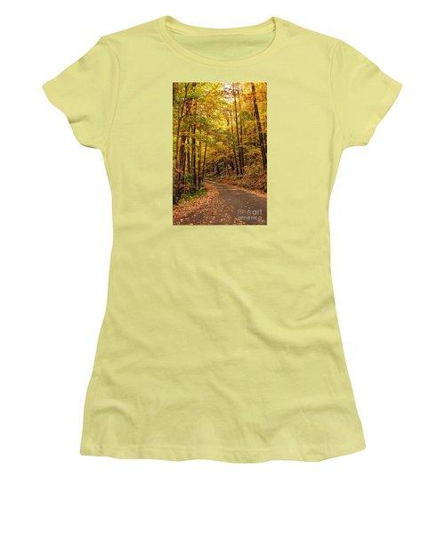 Women's T-Shirt (Junior Cut) featuring the photograph Driving Fall Mountain Roads. by Debbie Green