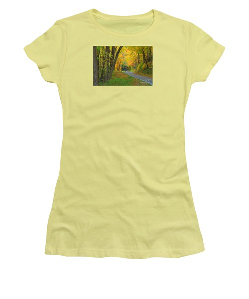 Women's T-Shirt (Junior Cut) featuring the photograph Driving Into Fall by Geraldine DeBoer