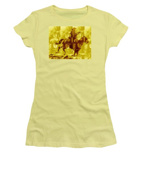 Women's T-Shirt (Junior Cut) featuring the digital art Duel In The Saddle 1 by Seth Weaver