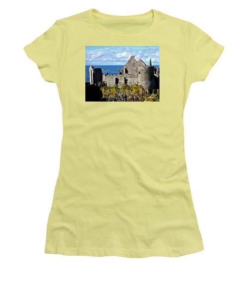 Dunluce Castle Women's T-Shirt (Junior Cut) by Nina Ficur Feenan