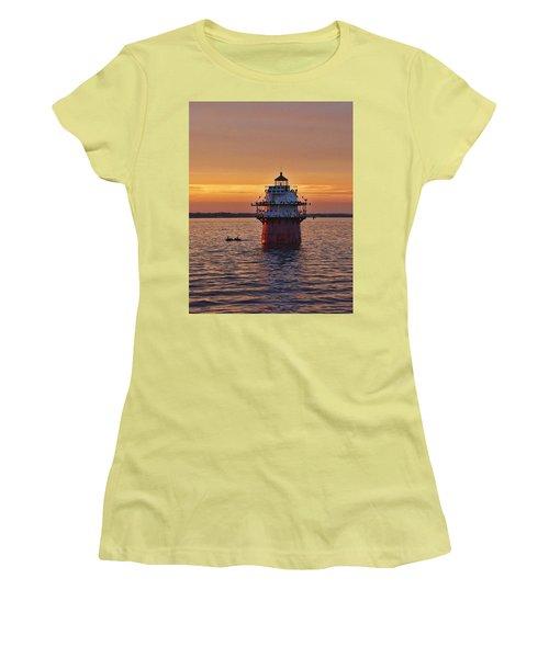 Duxbury Pier Light At Sunset Women's T-Shirt (Athletic Fit)