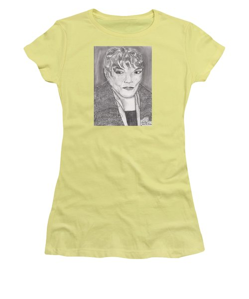 Women's T-Shirt (Junior Cut) featuring the drawing Eartha Kitt by David Jackson