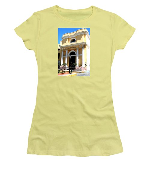 Women's T-Shirt (Junior Cut) featuring the photograph El Convento Hotel by The Art of Alice Terrill