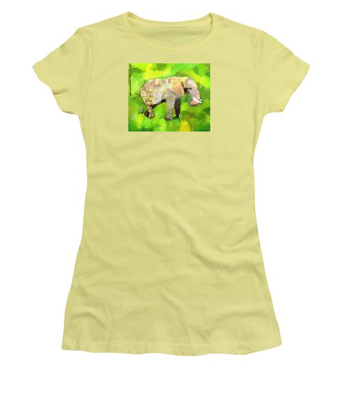 Women's T-Shirt (Junior Cut) featuring the painting Elephant 4 by Jeanne Fischer