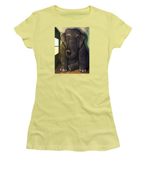 Elephant In The Room Women's T-Shirt (Junior Cut) by Leah Saulnier The Painting Maniac