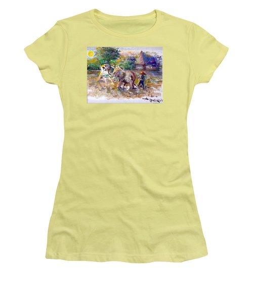 Women's T-Shirt (Junior Cut) featuring the painting Elephant Painting by Bernadette Krupa