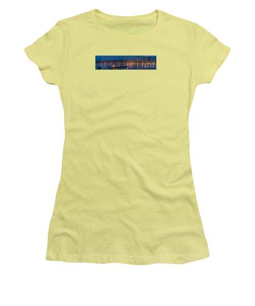 Elliott Bay Seattle Skyline Night Reflections  Women's T-Shirt (Athletic Fit)