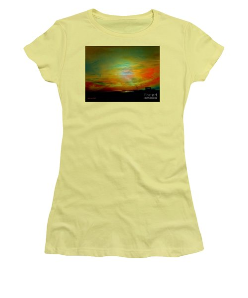 Women's T-Shirt (Junior Cut) featuring the photograph End Of The Fishing Day by Annie Zeno