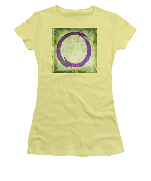 Enso No. 108 Purple On Green Women's T-Shirt (Athletic Fit)