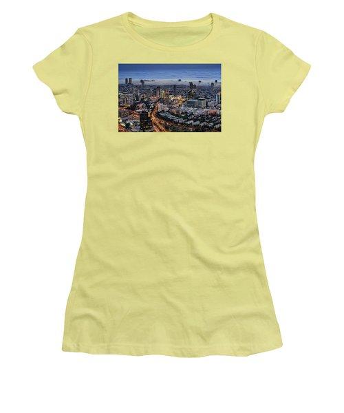 Evening City Lights Women's T-Shirt (Junior Cut) by Ron Shoshani
