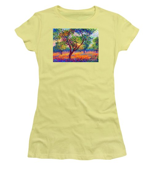 Women's T-Shirt (Junior Cut) featuring the painting Evening Poppies by Jane Small