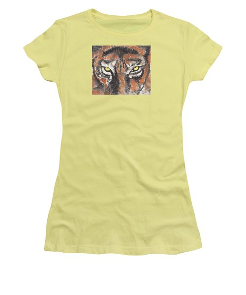 Women's T-Shirt (Junior Cut) featuring the pastel Eye Of The Tiger by David Jackson