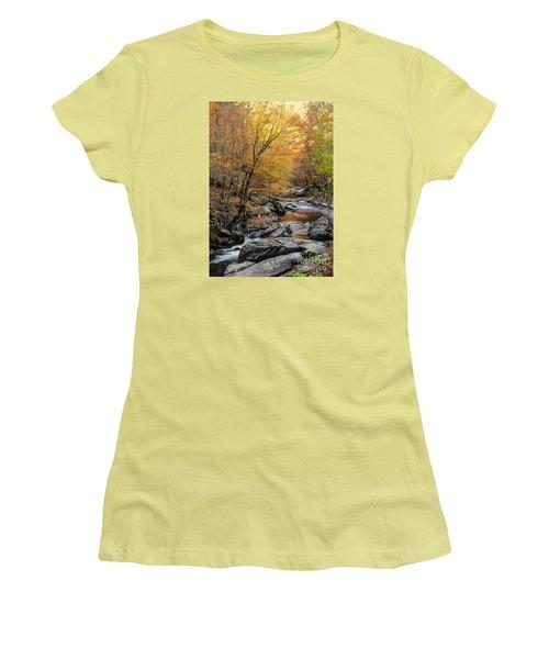 Women's T-Shirt (Junior Cut) featuring the photograph Fall Mountain Stream by Debbie Green