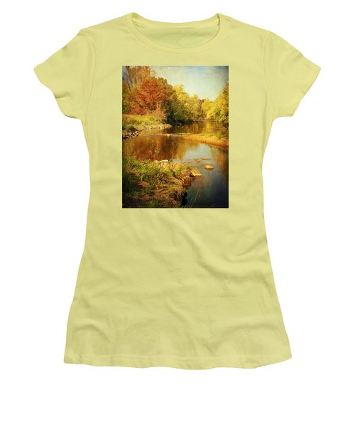 Fall Time At Rum River Women's T-Shirt (Junior Cut) by Lucinda Walter