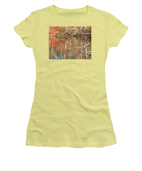 Women's T-Shirt (Junior Cut) featuring the photograph Fall Upon The Water by Bruce Carpenter