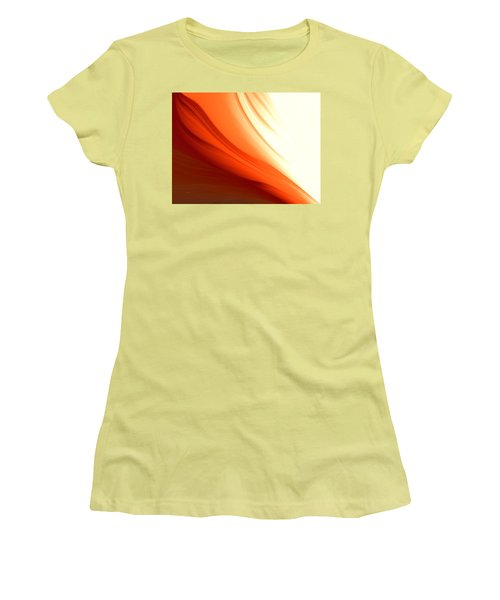 Women's T-Shirt (Junior Cut) featuring the digital art Glowing Orange Abstract by Gabriella Weninger - David