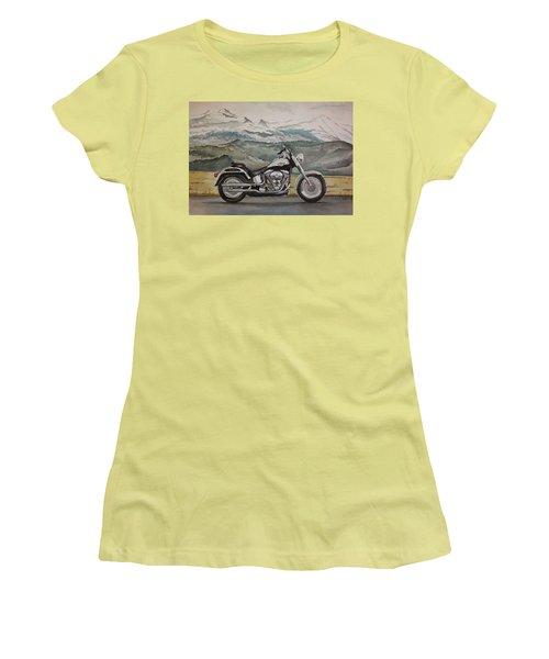 Women's T-Shirt (Junior Cut) featuring the painting Fatboy by Rachel Hames