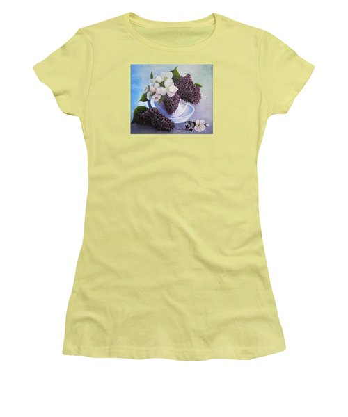Women's T-Shirt (Junior Cut) featuring the painting Feel The Fragrance by Vesna Martinjak