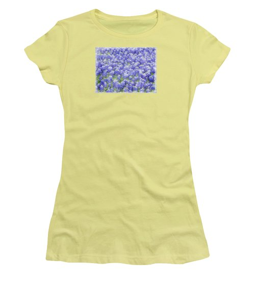 Women's T-Shirt (Junior Cut) featuring the photograph Field Of Bluebonnets by Kathy Churchman