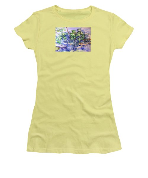 Fig Tree And Olive Trees In A Tuscan Garden Women's T-Shirt (Junior Cut) by Trudi Doyle