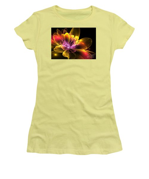 Women's T-Shirt (Junior Cut) featuring the digital art Fire Flower by Svetlana Nikolova