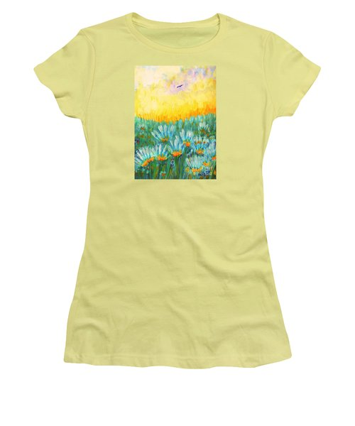 Women's T-Shirt (Junior Cut) featuring the painting Firelight by Holly Carmichael