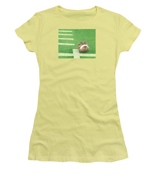 First Down Women's T-Shirt (Junior Cut) by Troy Levesque