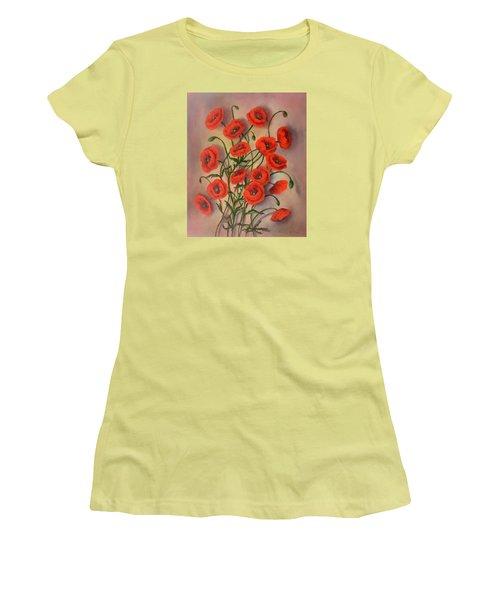 Flander's Poppies Women's T-Shirt (Junior Cut) by Randy Burns