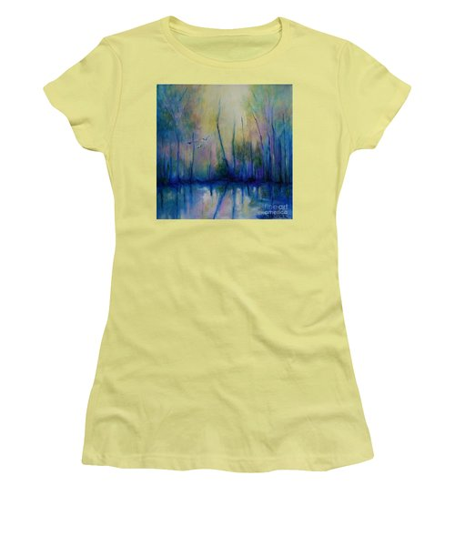Women's T-Shirt (Junior Cut) featuring the painting Flight In Morning Symphony by Alison Caltrider