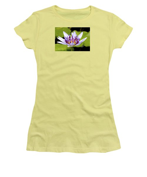 Women's T-Shirt (Junior Cut) featuring the photograph Floating Purple Waterlily by Lehua Pekelo-Stearns