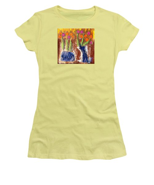Women's T-Shirt (Junior Cut) featuring the painting Floral Puffs by Cleaster Cotton