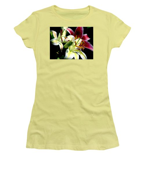 Women's T-Shirt (Junior Cut) featuring the photograph Florals In Contrast by Ira Shander