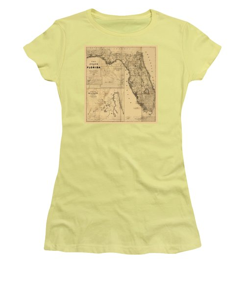 Florida Map Art - Vintage Antique Map Of Florida Women's T-Shirt (Athletic Fit)